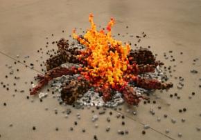 8 bit campfire pixel sculpture
