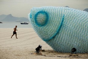 Giant Fish Sculptures  Discarded Plastic Bottles 1
