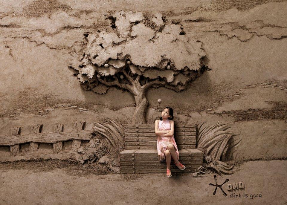 Omo washing detergent sand sculptures illusion 2