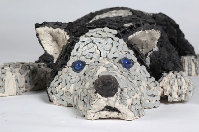 Dog Sculptures Made with Bicycle Parts Nirit Levav Packer 11