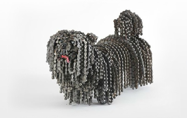 Dog Sculptures Made with Bicycle Parts Nirit Levav Packer 13