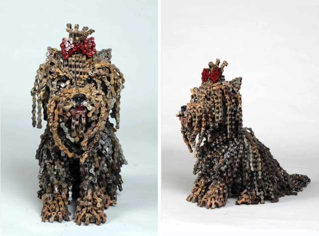 Dog Sculptures Made with Bicycle Parts Nirit Levav Packer 15