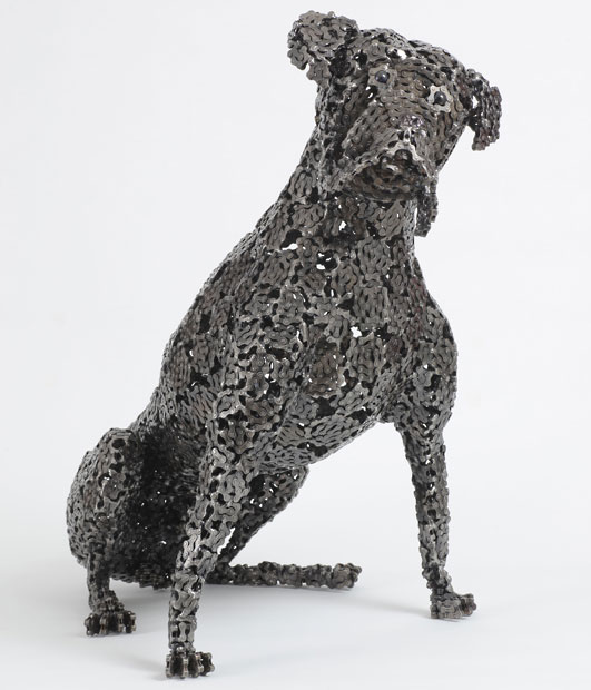 Dog Sculptures Made with Bicycle Parts Nirit Levav Packer 5