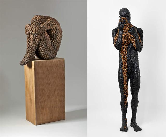 Anna Gillespie Nature Art Sculptures Acorns Beechnut Casings Bronze 6