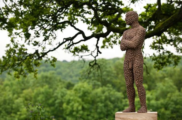 Anna Gillespie Nature Art Sculptures Acorns Beechnut Casings Bronze 8