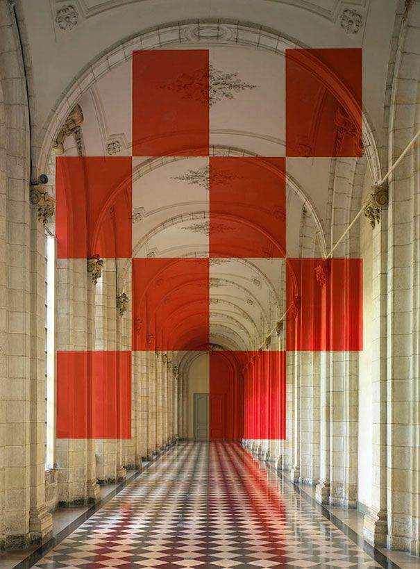 Architectural Felice Varini anamorphic paintings 15