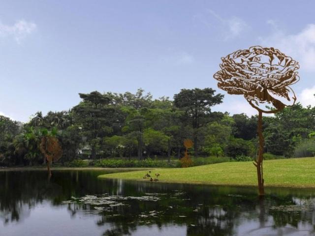 Steel Flowers and Trees Sculptures Zadok Ben David