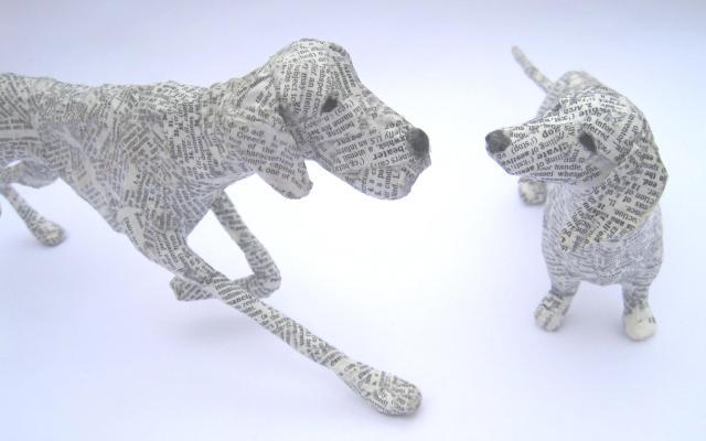 Dogs paper mache Lorraine Corrigan 17
