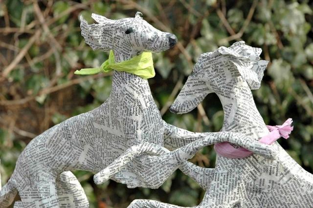 Dogs paper mache Lorraine Corrigan 3