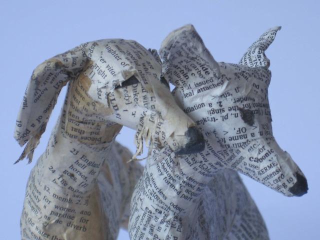 Dogs paper mache Lorraine Corrigan 7