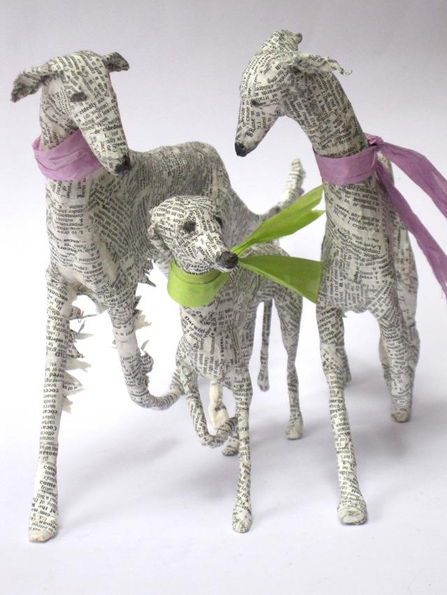 Dogs paper mache Lorraine Corrigan