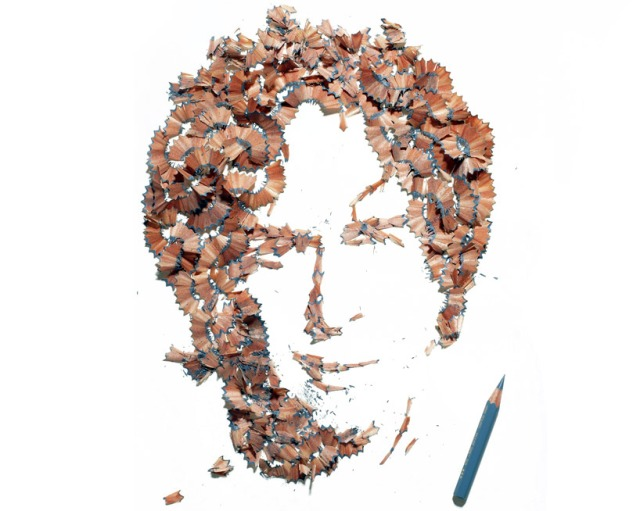 Playful pencil shavings portraits Kile Bean