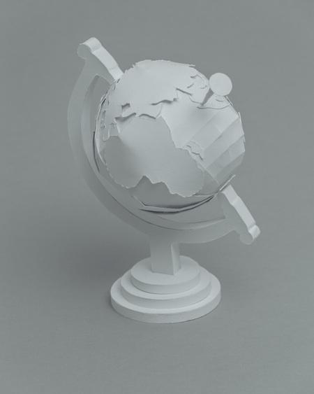paper sculptures Mandy Smith brain 3 globe