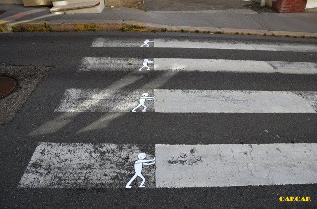 street art illusions OAKOAK