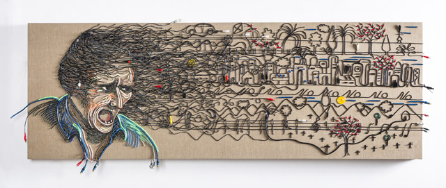 Federico Uribe Painting with Reused Electrical Cables 2