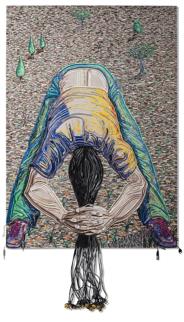 Federico Uribe Painting with Reused Electrical Cables 4