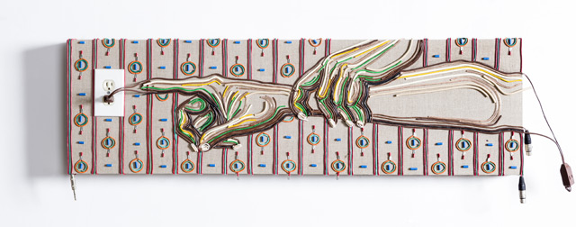 Federico Uribe Painting with Reused Electrical Cables 9