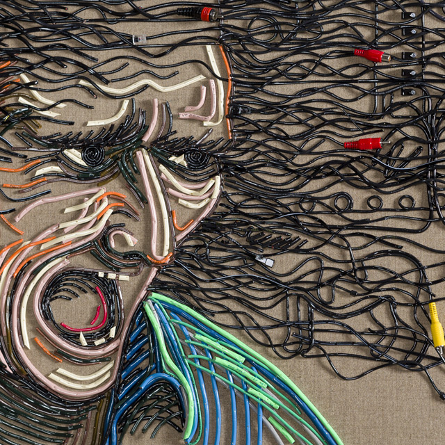 Federico Uribe Painting with Reused Electrical Cables