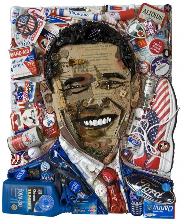 CELEBRITY TRASH ART BY JASON MECIER barack obama