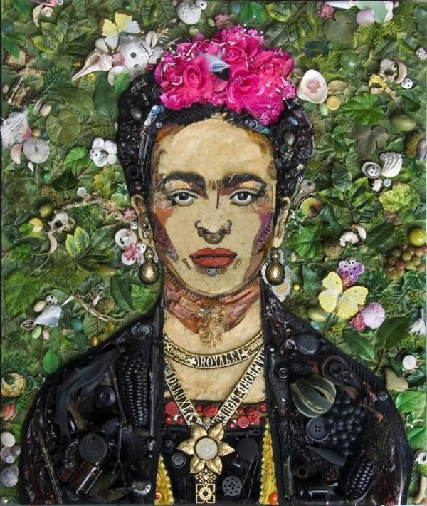 CELEBRITY TRASH ART JASON MECIER frida kahlo