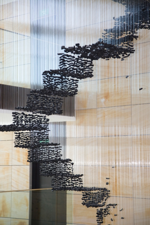 Seon Ghi Bahk Suspended Charcoal Installations 12