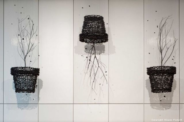 Seon Ghi Bahk Suspended Charcoal Installations