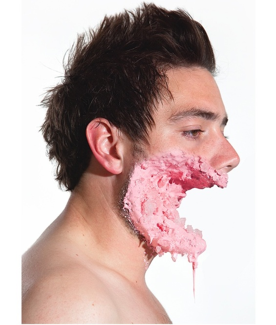 Ashkan Honarvar Grotesque facial injuries made ​​with candy and ice cream