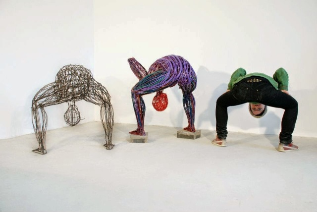 Judit Rabóczky human figures constructed from reused electrical cables 10