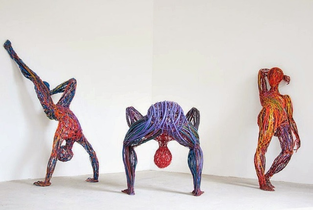 Judit Rabóczky human figures constructed from reused electrical cables 2
