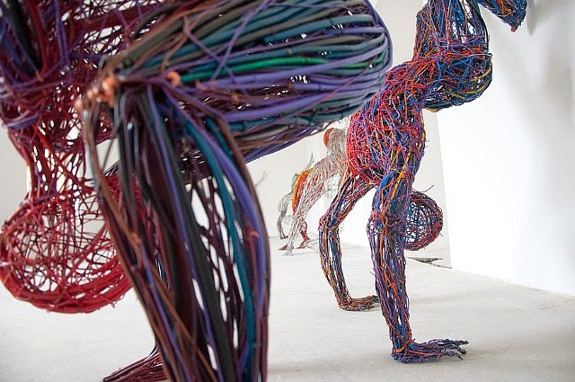 Judit Rabóczky human figures constructed from reused electrical cables 4