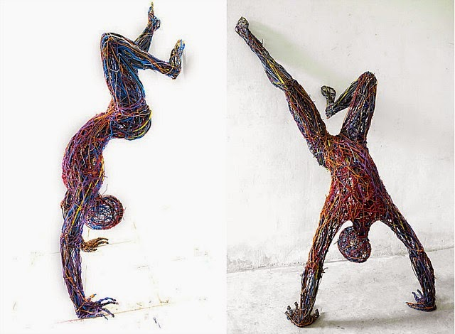 Judit Rabóczky human figures constructed from reused electrical cables 8