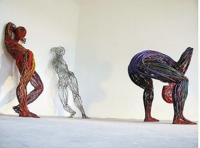 Judit Rabóczky human figures constructed from reused electrical cables