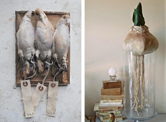Mr Finch vintage textile art 5