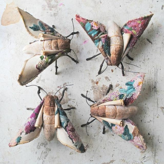 Mr Finch vintage textile art 7