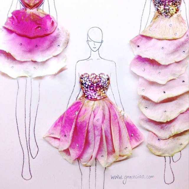 Fashion Illustrations Made Out of Flower Petals Grace Ciao 11