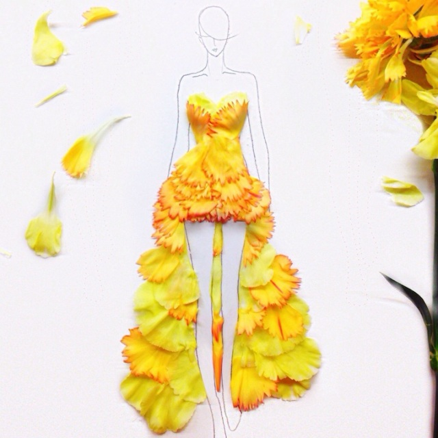 Fashion Illustrations Made Out of Flower Petals Grace Ciao 5