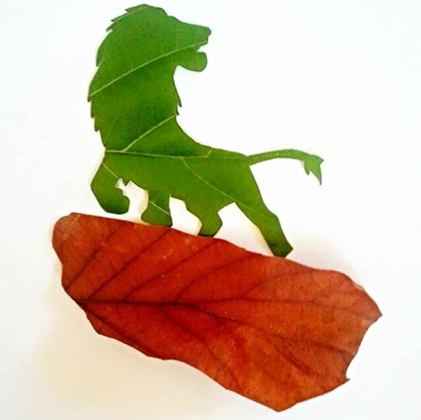 Roy Mallari GREEN ILLUSTRATIONS made of leafs 10