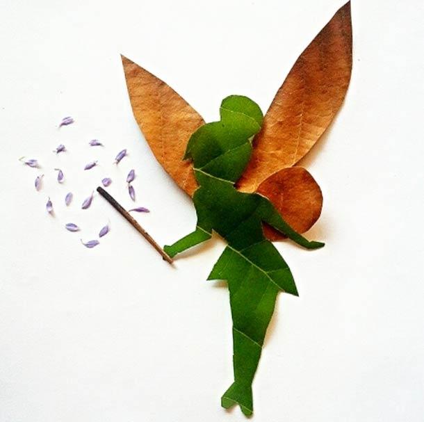 Roy Mallari GREEN ILLUSTRATIONS made of leafs 12