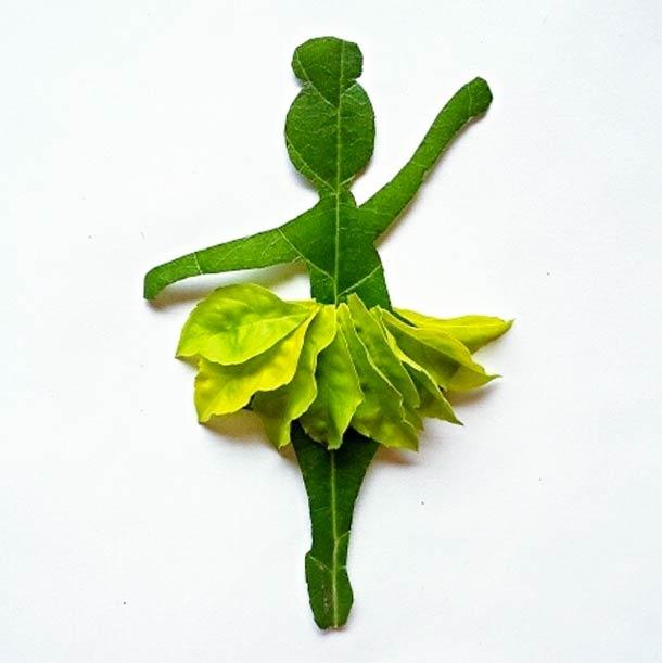 Roy Mallari GREEN ILLUSTRATIONS made of leafs 14