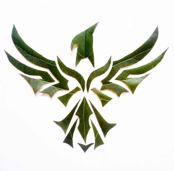 Roy Mallari GREEN ILLUSTRATIONS made of leafs 3