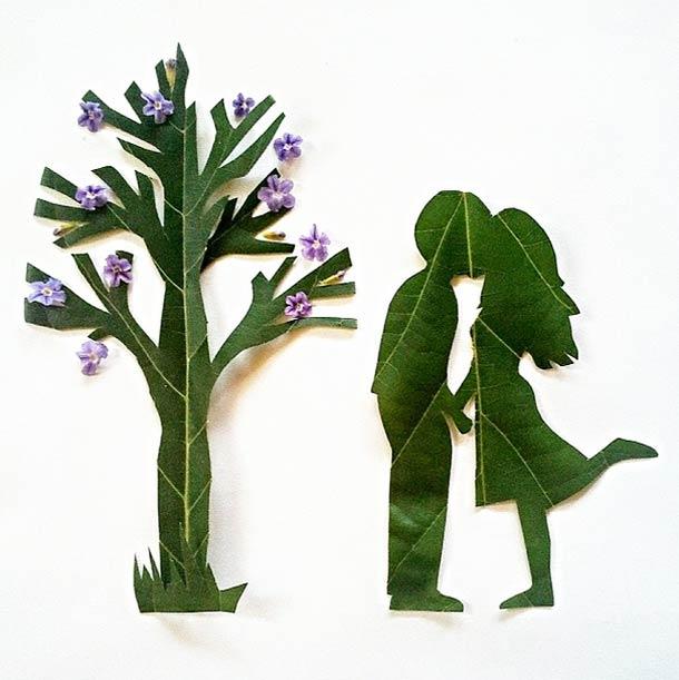 Roy Mallari GREEN ILLUSTRATIONS made of leafs 4
