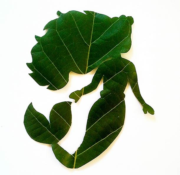 Roy Mallari GREEN ILLUSTRATIONS made of leafs 8