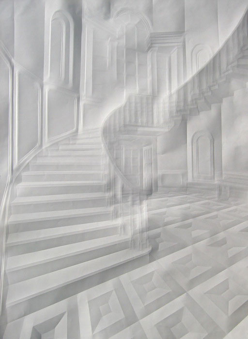 Creased Paper artworks Simon Schubert